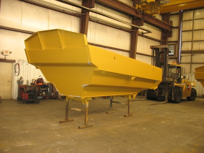 CAT 730 Narrow Truck Body – Build new for CAT730 trucks, the narrow configuration is so the bodies can be used in on-highway applications.